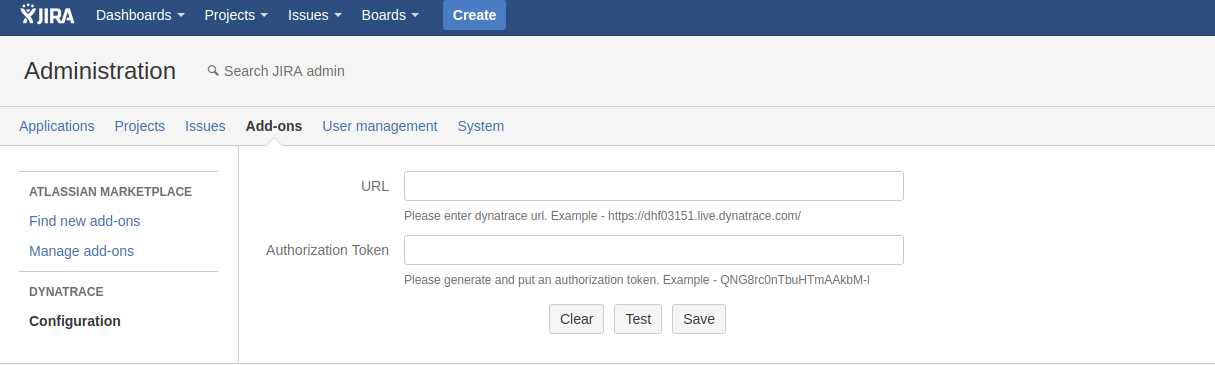 How to configure Dynatrace plugin for Jira Server